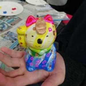 美術教室 招き猫つくり